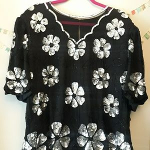 Vintage Floral Beaded Blouse
